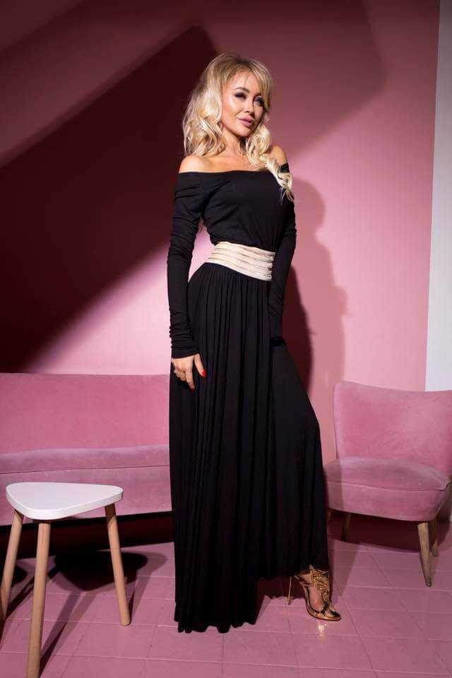 f979813ed5 Lia capricci długa sukienka czarna z pasem - Anmaris