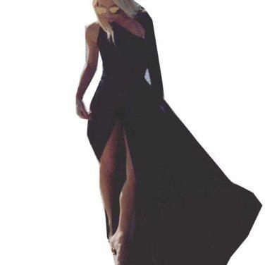 07fe779e1b Lia capricci sukienka długa czarna z rozcięciem