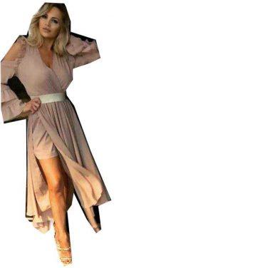 6fc5d7620d Lia capricci sukienka długa cappucino rozcięcie syfonowa