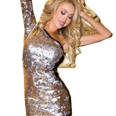 44c56f5fff LIA CAPRICCI Sukienka cekinowa czarna+ złoto-srebrne cekiny