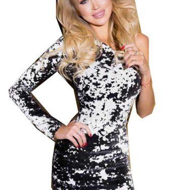 f5fb6f7a9e LIA CAPRICCI Sukienka cekinowa czarna+ czarno-białe cekiny