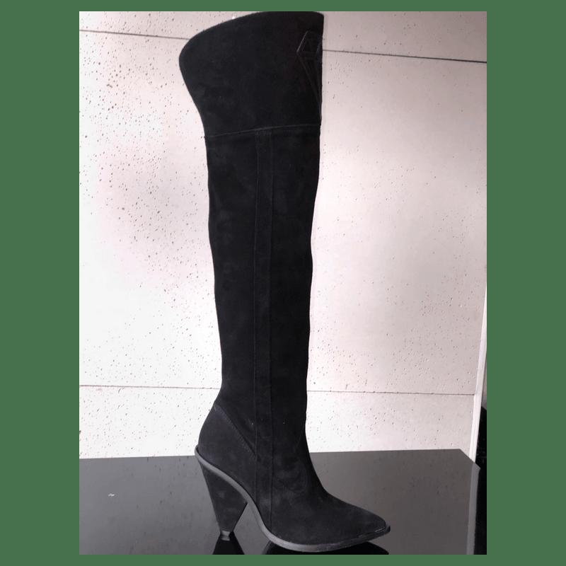PANDORA czarne skórzane kozaki za kolano